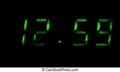 Digital clock shows the time of 12 hours 59 minutes to 13 hours 00 minutes