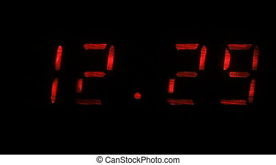 Digital clock shows the time of 12 hours 29 minutes to 12 hours 30 minutes