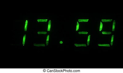 Digital clock shows the time of 13 hours 59 minutes to 14 hours 00 minutes
