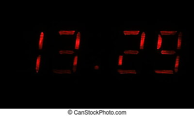 Digital clock shows the time of 13 hours 29 minutes to 13 hours 30 minutes