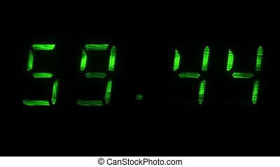 Digital clock shows the time of 59 minutes 40 seconds to 00 minutes 10 seconds