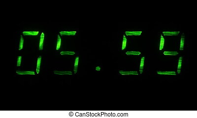Digital clock shows time of 05 hours 59 minutes to 06 hours 00 minutes