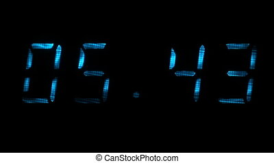 Digital clock shows time of 05 minutes 40 seconds to 06 minutes 10 seconds