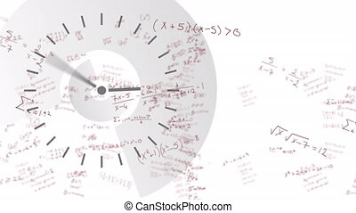 Digital clock ticking against mathematical equations moving ...