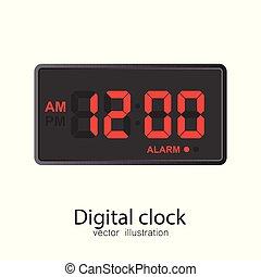 Digital clock vector illustration isolated on white background.
