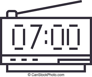 digital clock vector line icon, sign, illustration on background, editable strokes