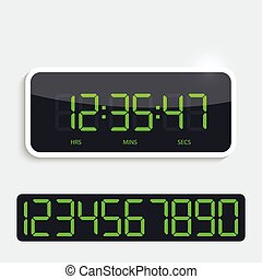 Digital clock with shiny plastic panel. additional figures