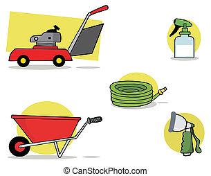 Digital Collage Of Gardening Tools