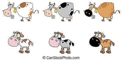 Digital Collage Of Six Cows