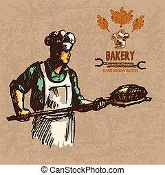 Digital color vector detailed line art baker
