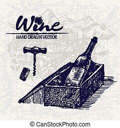 Digital color vector detailed line art wine