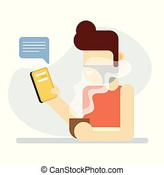 Digital Communication Man feeling relax sipping coffee in ...