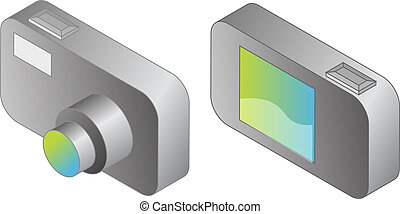 Digital compact camera illustration, 3d isometric style, front and back view