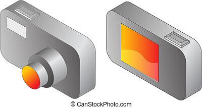 Digital compact camera illustration, 3d isometric style, ...