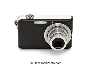 Digital compact camera. Isolated on white background