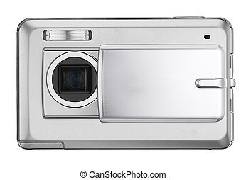 Digital compact photo camera isolated