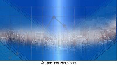 Digital composite image of cityscape against light trails over blue technology background