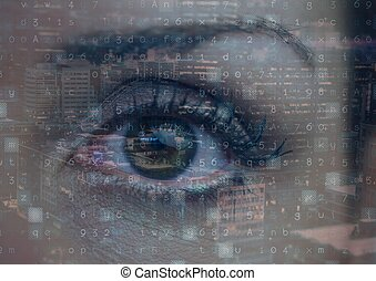Digital composite image of data processing against close up of female human eye