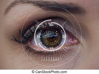 Digital composite image of digital clock against close up of female human eye