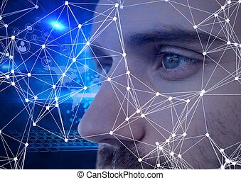 Digital composite image of network of connections against close up of male human eyes