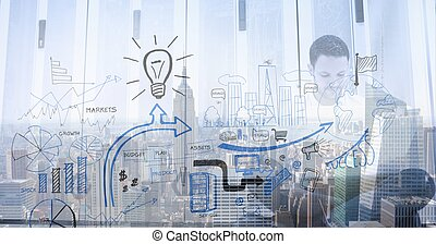 Digital composite image of office concept doodles against business man and cityscape