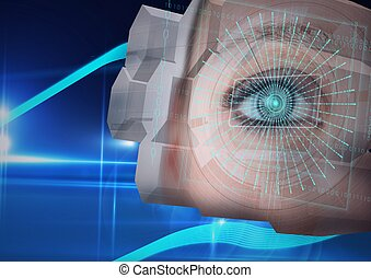 Digital composite image of round scanner against close up of female human eye