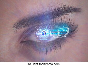 Digital composite image of round scanner and globe against close up of female human eye