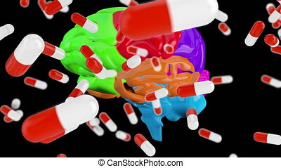 Digital composite of a brain and medicinal capsules - ...