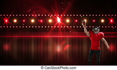 Digital composite of a Caucasian American football player holding a football with background of glowing red lights