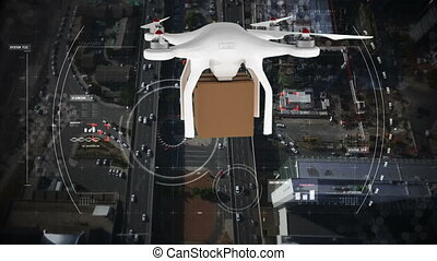 Digital composite of a drone flying in the city