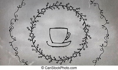 Digital composite of a hot coffee