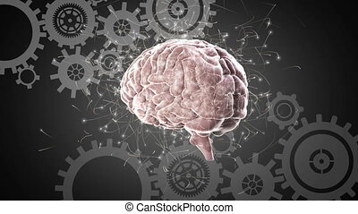 Digital composite of a human brain and industrial gears