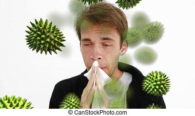Digital composite of a man sneezing