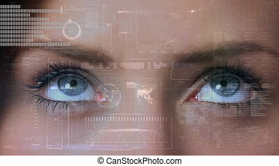 Digital composite of a woman eye looking at the screen with moving statistical graphs