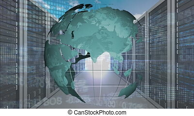 Digital composite of a world grid in a server room