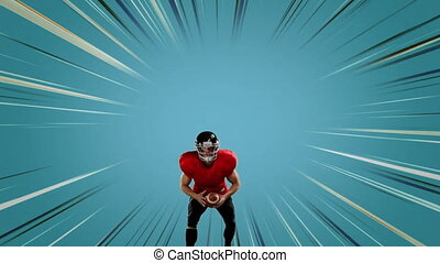 Digital composite of an American football player getting ready to throw a football with blue background and lines moving