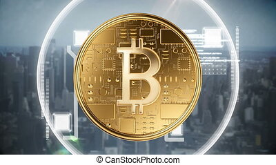 Digital composite of bitcoin technology