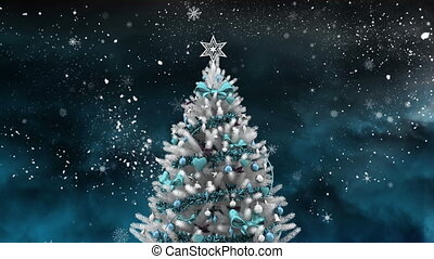 Christmas tree and night starry sky - Digital composite of ...