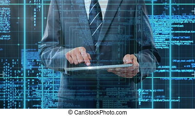 Code and technology interface with businessman using tablet