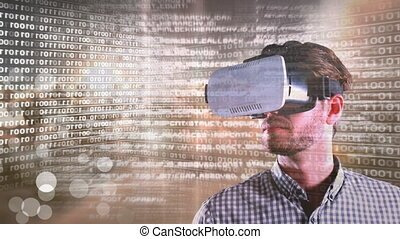 Code and technology interface with virtual reality headset on man