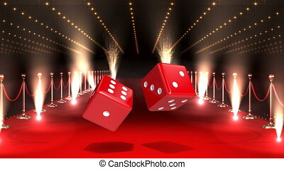 Dice casino with flashing lights and red carpet