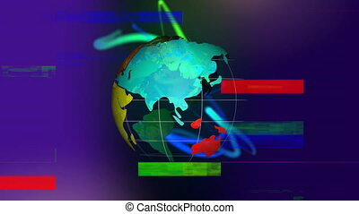 Digital composite of emphy globe with colorful line moving inside while sizzle strip on background
