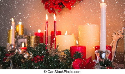 Falling snow with Christmas candles