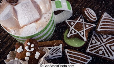 Falling snow with Christmas cookies decoration