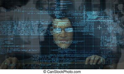 Digital composite of hacker and digital interface