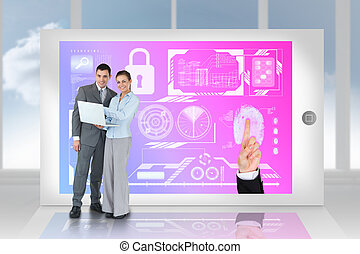 Digital composite of happy business team using laptop with security interface on tablet