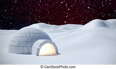 Igloo in winter scenery and falling snow