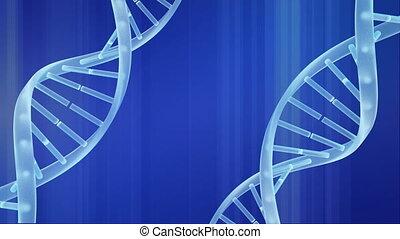 Digital composite of light blue colored DNA rotating against blue background