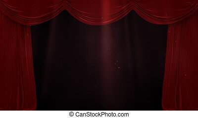 Digital composite of light in water with a red curtain