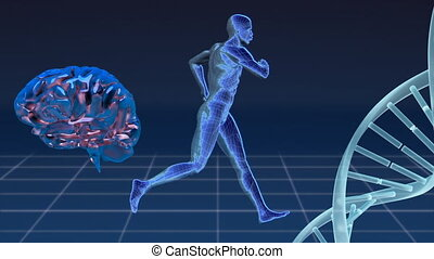 Digital composite of man, human brain and DNA